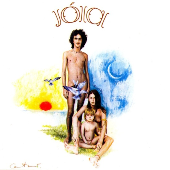 The album cover for Caetano Veloso's 1975 album Jóia features the sun and moon,birds, and Caetano looking primitive.