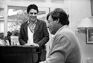 Chico Buarque (standing) and Tom Jobim.