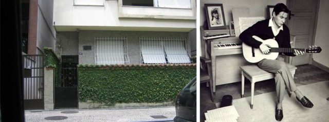 The apartment where Tom Jobim wrote Corcovado, and a picture of him inside. Photos via culturabrasil.com.br.