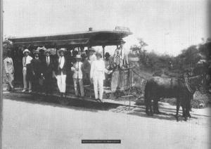 The horse-drawn streetcar that brought Nei Lopes's parents to Irajá Parish in 1918.