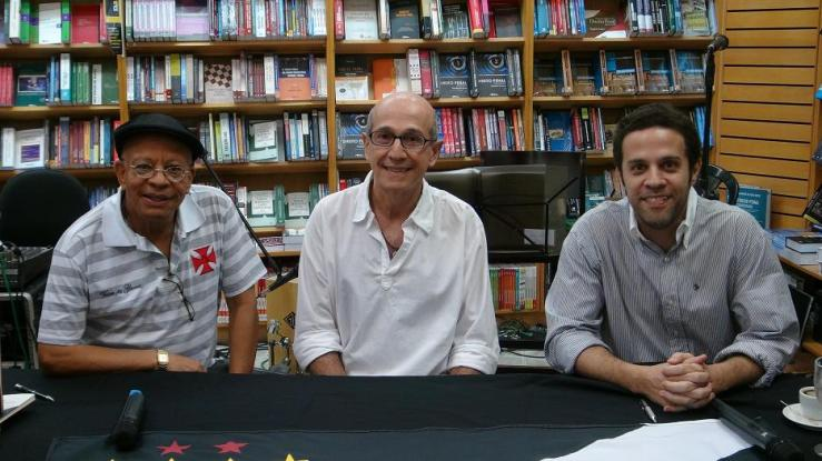 "Nei Lopes (L) at the launch of his book ""Contos da Colina"" about his football team, Vasco da Gama, written with Mauricio Murad and Luis Maffei."