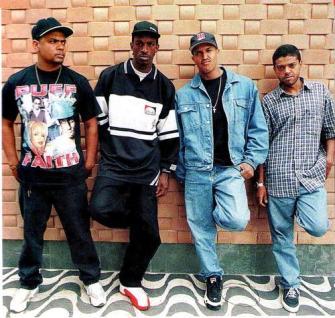 Edi Rock, left, with the other members of Os Racionais MC's.