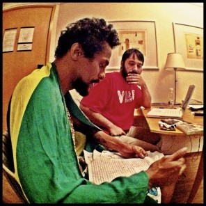 2013 photo of Black Alien and DJ Castro preparing pieces of his second album.