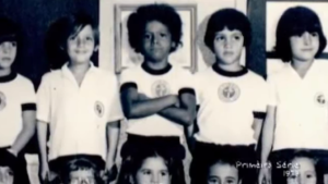 Gustavo felt out of place as one of the only black students at the expensive American school he attended in Niterói. Here is his first grade class picture from 1979.