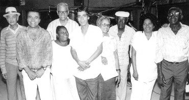 "Monarco, second from left, and Zeca Pagodinho, center, with Velha Guarda da Portela, c. late 80s. In 1987, Zeca Pagodinho released his first album, with Monarco's song ""Coração em desalinho,"" a huge hit."