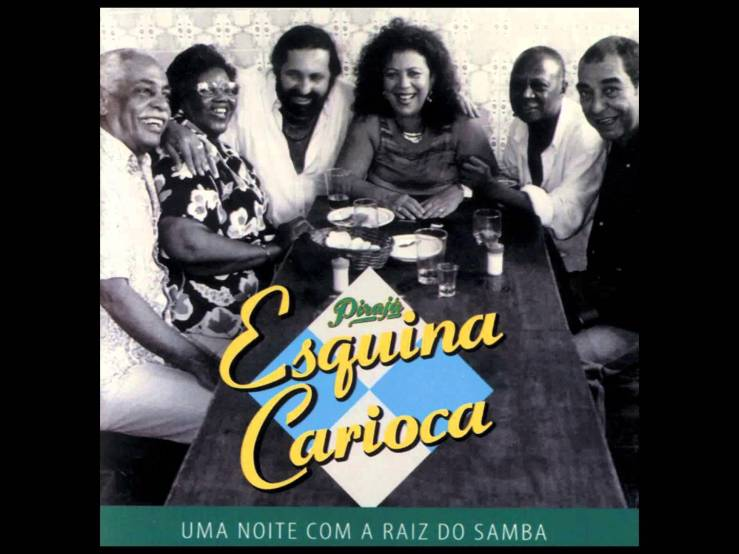 "Walter Alfaiate, Dona Ivone Lara, Moacyr Luz, Beth Carvalho, Luiz Carlos da Vila and João Nogueira on the cover of their 1999 album ""Esquina Carioca."""