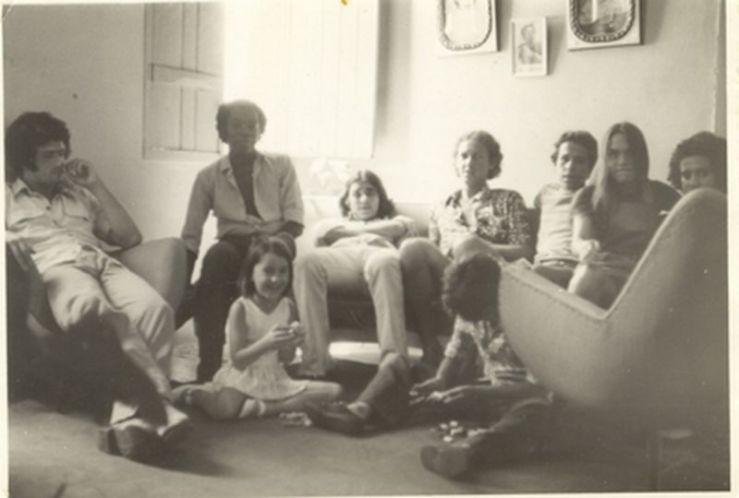 L-R:  Mané Buxa, Milton Nascimento, Jaceline (on floor), Lô Borges, Célio Cabral, Telo Borges, Duca Leal and Márcio Borges at Milton Nascimento's house in Três Pontas, Minas Gerais, 1971.